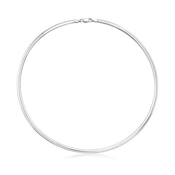 Italian 4mm Sterling Silver Domed Omega Necklace, , default