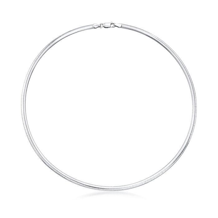 Italian 4mm Sterling Silver Domed Omega Necklace, , default