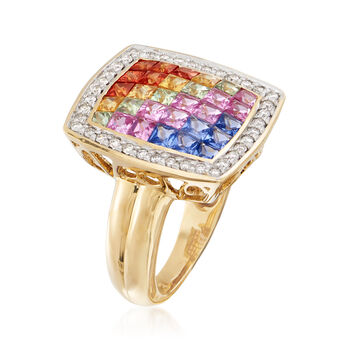 2.40 ct. t.w. Multicolored Sapphire and .30 ct. t.w. Diamond Ring in 18kt Yellow Gold, , default