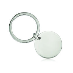 Stainless Steel Brushed Reversible Circle Key Chain, , default