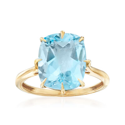6.50 Carat Blue Topaz Cocktail Ring in 14kt Yellow Gold, , default