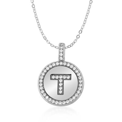 .25 ct. t.w. CZ Single Initial Disc Pendant Necklace in Sterling Silver