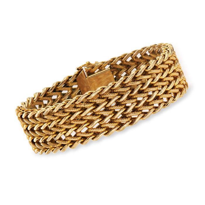 "C. 1980 Vintage 14kt Yellow Gold Mesh-Style Bracelet. 7.75"", , default"