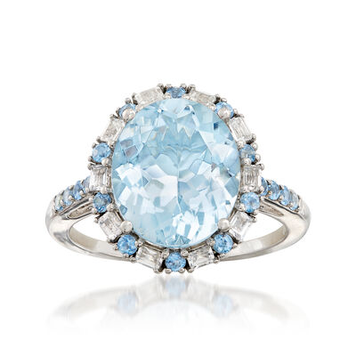 4.30 ct. t.w. Aquamarine and .40 ct. t.w. White Sapphire Ring in 14kt White Gold, , default