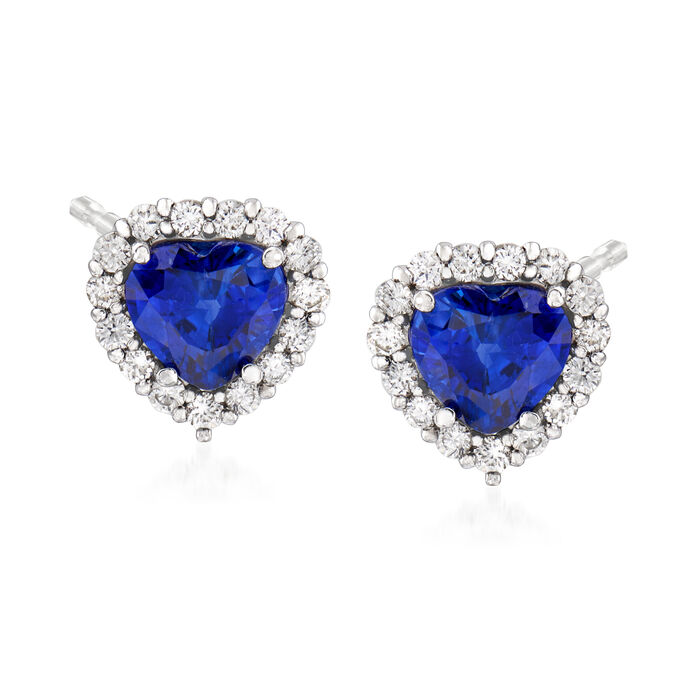 C. 1990 Vintage 3.24 ct. t.w. Sapphire and .58 ct. t.w. Diamond Heart Earrings in 18kt White Gold