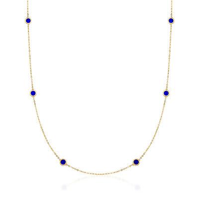 Italian Blue Enamel Station Necklace in 14kt Yellow Gold