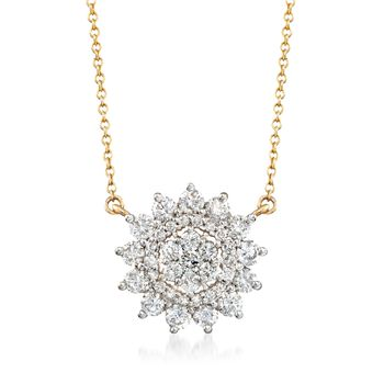 "1.00 ct. t.w. Diamond Starburst Necklace in 14kt Yellow Gold. 18"", , default"