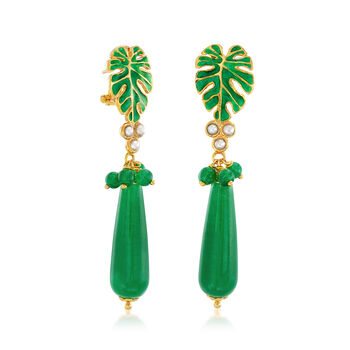 Italian 44.40 ct. t.w. Green Quartz Drop Earrings with 2x2.5mm Pearls in 18kt Gold Over Sterling, , default