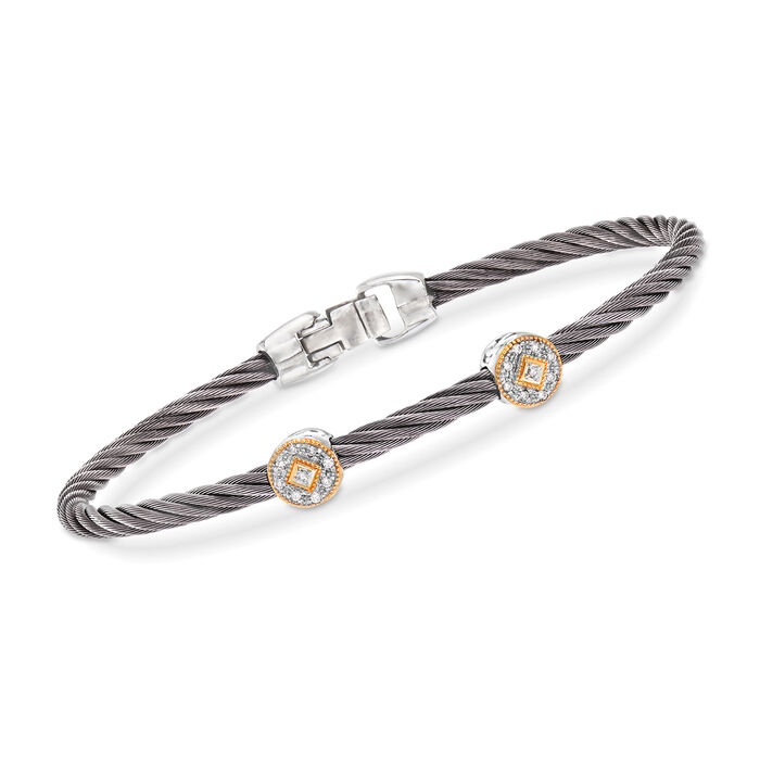 """ALOR """"Shades of Alor"""" Gray Carnation Cable Station Bracelet with Diamond Accents in Stainless Steel and 18kt Yellow and White Gold"""