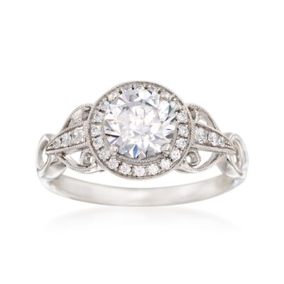 Simon G. .17 ct. t.w. Diamond Halo Engagement Ring Setting in 18kt White Gold