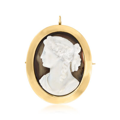 C. 1940 Vintage Carved White Agate Cameo Pin/Pendant in 14kt Yellow Gold