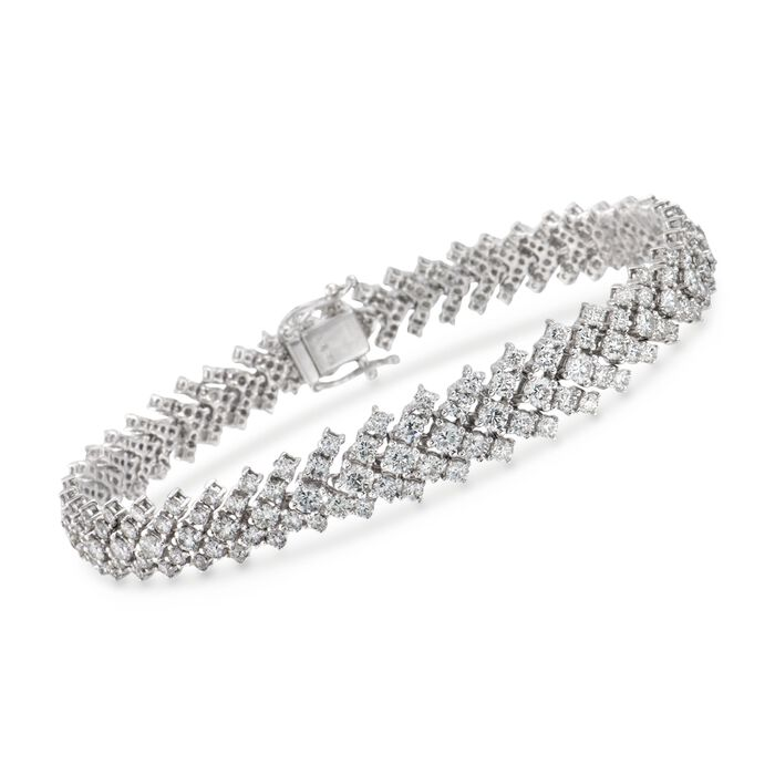 8.49 ct. t.w. Diamond Graduated Bracelet in 18kt White Gold. 7.25""