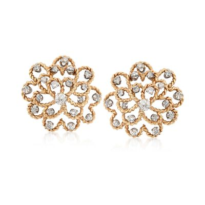 C. 1950 Vintage 2.70 ct. t.w. Diamond Floral Clip-On Earrings in 14kt Yellow Gold, , default