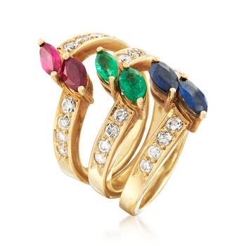 C. 1990 Vintage 2.85 ct. t.w. Multi-Gemstone Jewelry Set: Three Rings in 18kt Yellow Gold. Size 6.5
