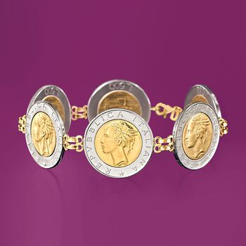 "Italian Genuine 500-Lira Coin Bracelet with 14kt Yellow Gold. 8"", , default"