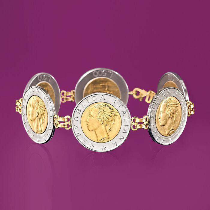 Italian Genuine 500-Lira Coin Bracelet with 14kt Yellow Gold