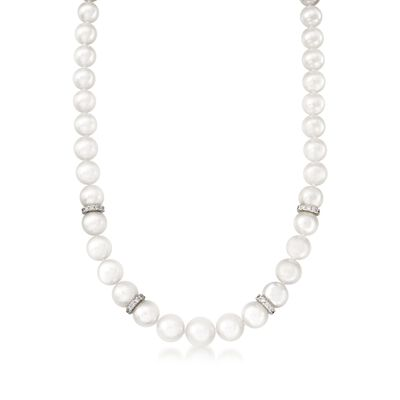 Mikimoto 7-9mm A1 Akoya Pearl Graduated Necklace with Diamonds and 18kt White Gold, , default