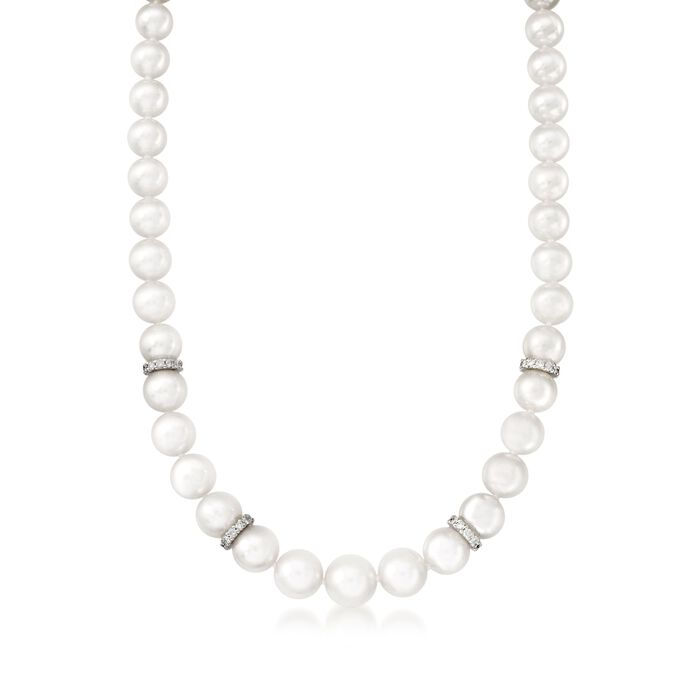 """Mikimoto 7-9mm A1 Akoya Pearl Graduated Necklace with Diamonds and 18kt White Gold. 18"""", , default"""