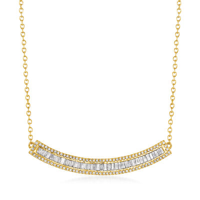.50 ct. t.w. Baguette and Round Diamond Curved Bar Necklace in 14kt Yellow Gold