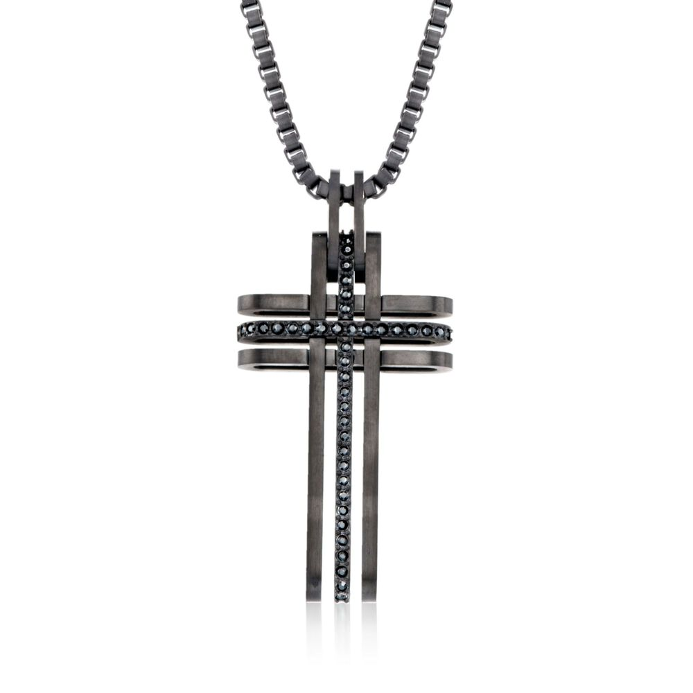 Swarovski crystal mens bengal black crystal cross pendant swarovski crystal mens quotbengalquot black crystal cross pendant necklace in black silvertone aloadofball Choice Image