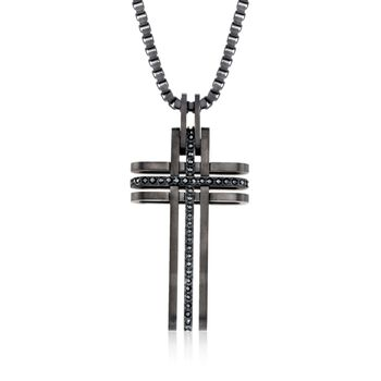 "Swarovski Crystal Men's ""Bengal"" Black Crystal Cross Pendant Necklace in Black Silvertone. 21.5"", , default"