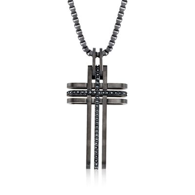 "Swarovski Crystal Men's ""Bengal"" Black Crystal Cross Pendant Necklace in Black Silvertone, , default"
