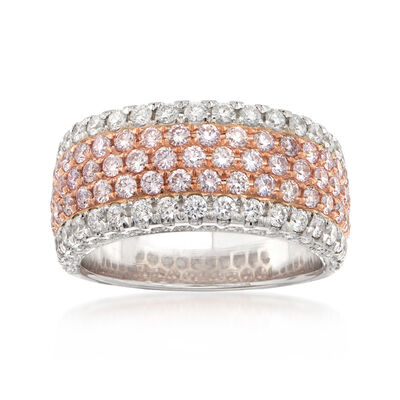 1.70 ct. t.w. Pink and White Diamond Wide Band Ring in 18kt Two-Tone Gold, , default