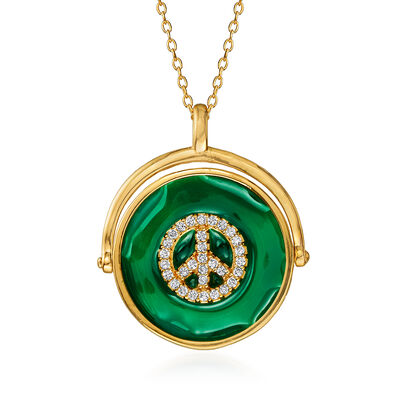 .15 ct. t.w. CZ Peace Sign Pendant Necklace with Green Enamel in 18kt Gold Over Sterling, , default