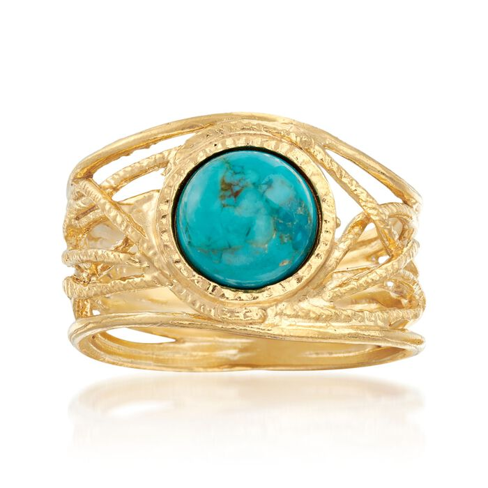 Round Turquoise Textured Openwork Ring in 18kt Gold Over Sterling, , default