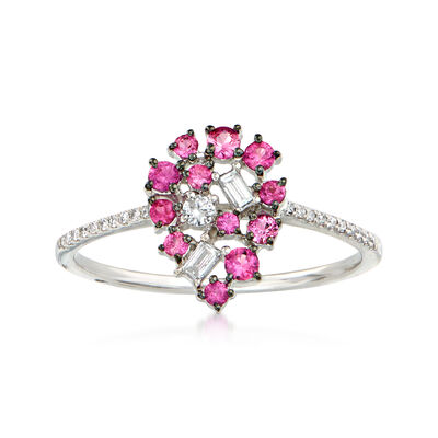 .20 ct. t.w. Pink Sapphire and .15 ct. t.w. Diamond Pear-Shaped Ring in 18kt White Gold, , default