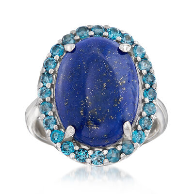Lapis and 1.00 ct. t.w. London Blue Topaz Ring in Sterling Silver, , default