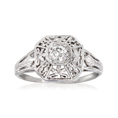 C. 1990 Vintage .20 Carat Diamond Filigree Ring in 14kt White Gold