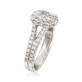 Henri Daussi 1.28 ct. t.w. Diamond Halo Engagement Ring in 18kt White Gold