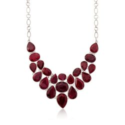 "66.00 ct. t.w. Ruby Bib Necklace in Sterling Silver. 20"", , default"