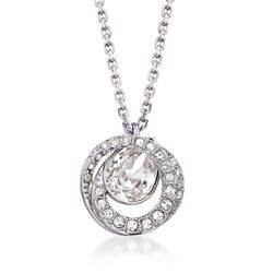 "Swarovski Crystal ""Generation"" Crystal Pendant Necklace in Silvertone. 14"", , default"