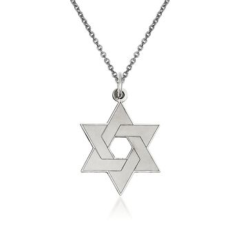 "14kt White Gold Star of David Pendant Necklace. 18"", , default"