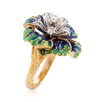 C. 1970 Vintage .50 ct. t.w. Diamond and Enamel Floral Ring in 18kt Yellow Gold. Size 6.5