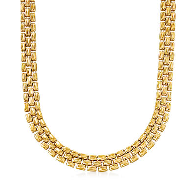 C. 1990 Vintage 14kt Two-Tone Gold Reversible Link Necklace
