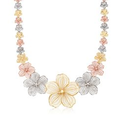 14kt Tri-Colored Gold Flower Necklace, , default