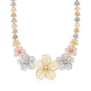 """14kt Tri-Colored Gold Flower Necklace. 18"""", , default"""