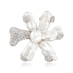 18-22mm Cultured Keshi Pearl Flower Pin With 6.25 ct. t.w. White Topaz, , default
