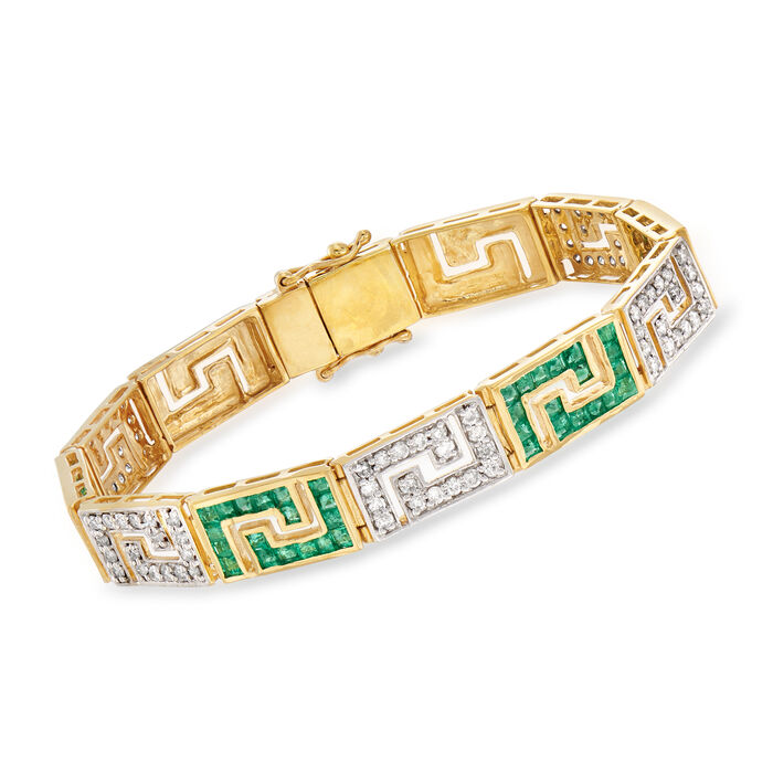 3.40 ct. t.w. Emerald and 1.70 ct. t.w. Diamond Greek Key Bracelet in 18kt Gold Over Sterling