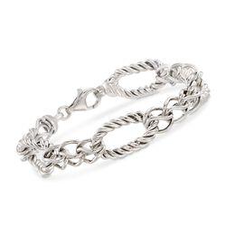 Italian Sterling Silver Twisted Link Bracelet, , default