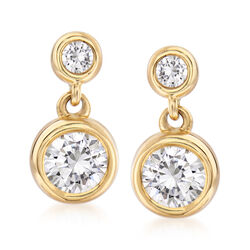 .75 ct. t.w. Bezel-Set Diamond Drop Earrings in 14kt Yellow Gold, , default