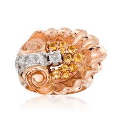 C. 1940 Vintage .45 ct. t.w. Citrine and .35 ct. t.w. Diamond Seashell Ring in 14kt Two-Tone Gold. Size 5, , default