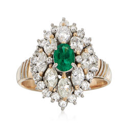 C. 1980 Vintage .38 Carat Emerald and 1.45 ct. t.w. Diamond Ring in 18kt Two-Tone Gold. Size 6.5, , default