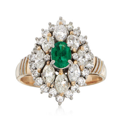 C. 1980 Vintage .38 Carat Emerald and 1.45 ct. t.w. Diamond Ring in 18kt Two-Tone Gold, , default