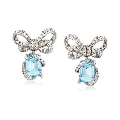 3.60 ct. t.w. Blue and White Topaz Bow Drop Earrings in Sterling Silver, , default