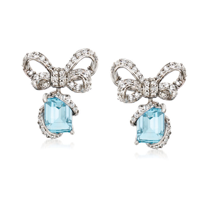 3.60 ct. t.w. Blue and White Topaz Bow Drop Earrings in Sterling Silver