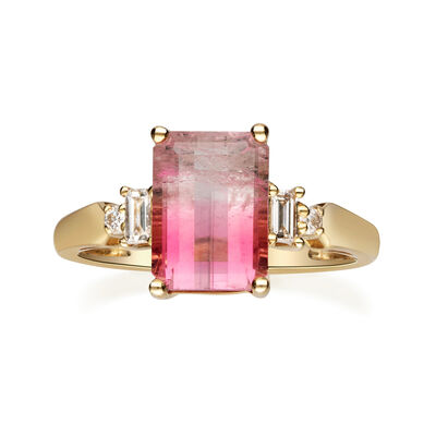 3.30 Carat Pink Tourmaline and .17 ct. t.w. Diamond Ring in 14kt Yellow Gold